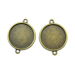 $enCountryForm.capitalKeyWord NZ - 22 Pieces Cabochon Cameo Base Tray Bezel Blank Diy Accessories For Simple Connector Inner Size 20mm Round Necklace Pendant Setting