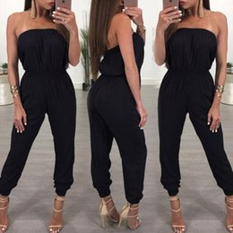 Off Shoulder Black Summer Jumpsuits Canada - 2018 New Ladies Summer Bandeau Off Shoulder Black Jumpsuits Women High Waist Clubwear Loose Playsuit Party Romper Trousers