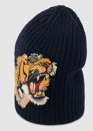 Lace Print Scarf Australia - Silks Scarves Blooms print silk scarf Wool hat with tiger HAT SCARF SET BLACK DAME