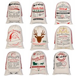 Drawstring bags for kiDs online shopping - Christmas Gift Bag Large Canvas Halloween Bags Santa Sack Drawstring Bag With Reindeers Santa Claus Sack Bags for kids OTH588