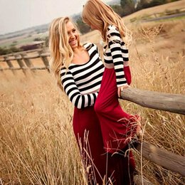 Match Clothing Mom Baby NZ - Mother Daughter Dresses Family Look Matching Clothes Long Sleeve Striped Cotton Mom and Daughter Dress Outfit Baby Girl Clothing