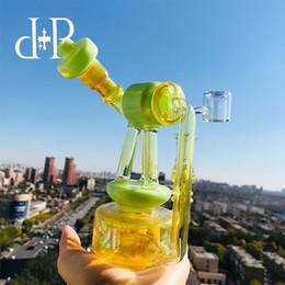 "$enCountryForm.capitalKeyWord Australia - Plus Glass Bong Water Pipe 022R Telescopic Triplex Unique Reseda Green color heady art pipe with percolator 7"" Height 14mm Female"