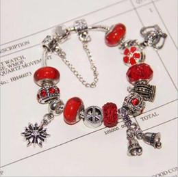 Christmas Pandora Bracelet Australia - Fashion Pandora Style Charm Bracelets 925 Sterling Silver Murano Glass European Charm Beads Fits Bracelets Christmas Bell Dangle DIY Jewelry