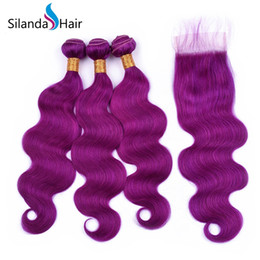 $enCountryForm.capitalKeyWord Australia - Silanda Hair Colored Nice Pure Purple Body Wave Remy Human Hair Weaves Weft 3 Weaving Bundles With 4X4 Lace Closure Free Shipping