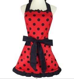 polka dots apron UK - Wholesale bulk lot Princess style Red apron with black Polka dot kitchen cooking baking Apron
