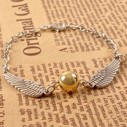 Discount book chain - 10Pcs Harry Book The golden Snitch Bracelets Antique Silver Bronze Snitches Bracelets Wristband Fashion Potter Jewelry f