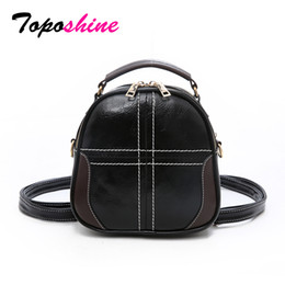 Toposhine Korean Fashion Small Women Handbag Cross Thread Solid PU Leather  Girl Back Pack Simple Style Female Shoulder Bags 2018 1e3c174901