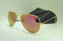Sun Glasses Black Australia - High Quality Mens Womens Colorful Sunglasses Pilot Sun Glasses Gold Frame Flash Pink Purple Mirror Glass Lenses 58MM 62MM With Black Case