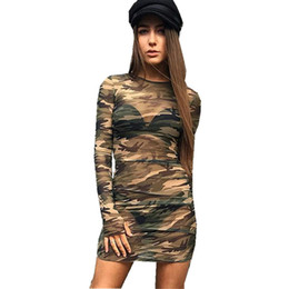 Wholesale mesh bandage bodysuit resale online - Sexy Club Dress Womens Mini Bodycon Dress Party Bandage Dresses Long Sleeves Bodysuit Mesh Camouflage Print through Dress Sexy Women dresses