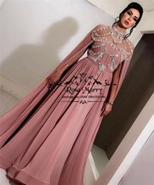 cheap kaftan prom dresses 2019 - Sparkly Caped Crystals Kaftan Evening Dresses Long Sleeves 2019 Yousef Aljasmi Plus Size Long Chiffon High Neck Cheap Fo