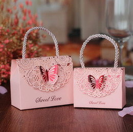 Wholesale Boxes Packaging Australia - 20pcs Portable wedding candy box favors box paper gift bag packaging box for guests party decoration supplies