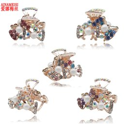 crab hair clips NZ - 5 pcs set Cute Butterfly Crab Hairpain Pearl Headwear Accessories Crystal Hair Claw Clip for Wedding Jewelry Gift S918