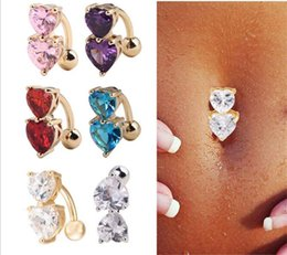 Discount navel piercing gold heart - 5 Colors Crystal Bar Belly Ring Gold Body Piercing Button Navel Two Heart body pierce jewelry R174