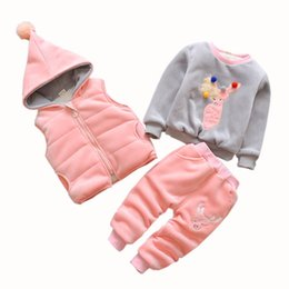 Wholesale 3Pcs Winter Children Clothing Sets Cotton Deer Christmas Snowsuit Thicken Warm Sweatshirt Suit For Boys Girls Baby Kids Clothes