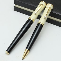 $enCountryForm.capitalKeyWord Australia - Luxury Pens Greta Garbo Edition Ballpoint Pen Black And White Screw Type Cap Roller ball pen With Pearl Clip Flower pen