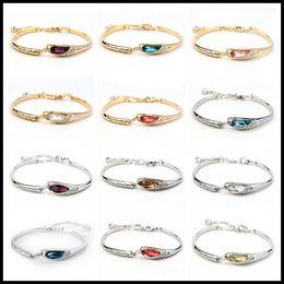 37daafa73 12 Colors Swarovski Amethyst Crystal Bracelets Designer Bracelet Stainless  Steel Jewelry Bangles Luxury Jewelry Chain Christmas Gifts