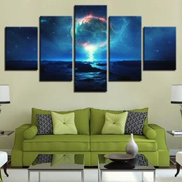 $enCountryForm.capitalKeyWord NZ - Canvas Wall Art Pictures Living Room Decor HD Prints 5 Pieces Earth Starry Night Paintings Cosmic Planet Abstract Poster Frame