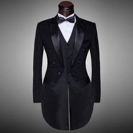 tuxedo man dress 2019 - Male Black Magician Tuxedo Suits Formal Stage Wear Dress Costumes Men's Clothing Set Costume Performance Show Prom