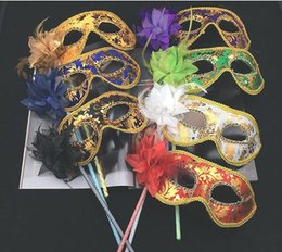 $enCountryForm.capitalKeyWord Australia - Women Masquerade Mask with Flower and Feather on a Stick Christmas Halloween Costume Half Face Venetian Masquerade Mask
