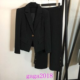 designing women costumes 2019 - 2019 women Striped suits Clothes Business Suit Costume Slim fit Casual Design stripe knitted black Womens Suits Girls Bu