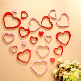 online shopping 5pcs set D Wooden Heart Love Shape Wall Stickers For Valentine Day Home Decoration Beautiful Paster New yj Z