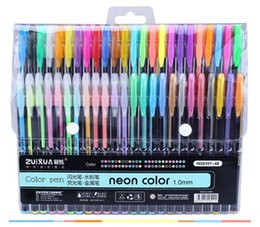 $enCountryForm.capitalKeyWord Australia - Plastic 48Colors Gel Pens Set &Refills Rollerball Pastel Neon Glitter Sketch Drawing Color Pen Markers Marker Manga School Stationery
