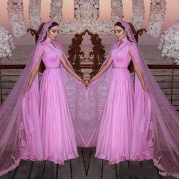 $enCountryForm.capitalKeyWord Australia - Saudi Arabia Simple Wedding Dresses With Long Veil High Neck Floor Length Bridal Gowns Lace Appliques Tulle Bridal Veil Vestidos