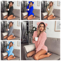 8a9c2f375e3 Sherpa Pullover Hooded Fleece Jumpsuits Pajamas Women Warm Soft Rompers  Cute Ear Long Sleeve Shorts Sleepwear leisure Loungwear MMA1045 30