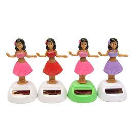 $enCountryForm.capitalKeyWord Australia - 4pcs set Solar Powered Dancing Hula Girl Swinging Bobble Toy Gift For Car Decoration Novelty Happy Dancing Solar Girls Toys