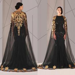 374e2fcabcd Черный арабский Дубай вечернее платье с шалью лодка шеи аппликации кружева  женщин Pageant вечерние платья формальные партии