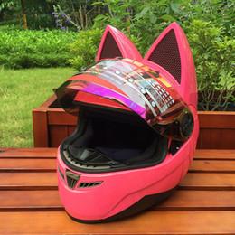 Discount pink moto helmet - Motorcycle helmet with cat ears Pink helmet race antifog personality design with horn e moto casco full face