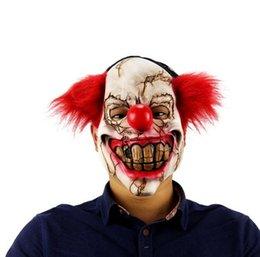Mask Hair Horror UK - Halloween Mask Scary Clown Latex Full Face Mask Big Mouth Red Hair Nose Cosplay Horror masquerade mask Ghost Party GA322