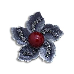 $enCountryForm.capitalKeyWord UK - Ajojewel Vintage Flower Redbud Elegant Brooch Red&white&Gray Simulated-pearl Black Crystal Rhinestone Fine Jewelry For Women