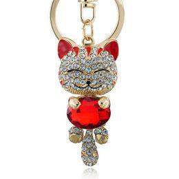 China Lucky Enamel Smile Cat Crystal Rhinestone HandBag Keyring Keychain Purse Bag Buckle For Car Party Gift Keyfob Jewelry K218 supplier keychain buckle gold suppliers