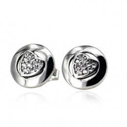 66ff7a232 ... 925 sterling silver heart signature with crystal stud earrings for  women wedding where to buy compatible with pandora jewelry light as a  feather ...