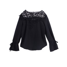 $enCountryForm.capitalKeyWord NZ - Fashion Cute Sexy Women Ladies Lace Floral Long Sleeve With Belt O-Neck Hollow Out Slim Blouses 4 Style Outfit Spring Summer