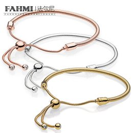 Love moment online shopping - FAHMI Sterling Silver Charm MOMENTS SILVER SLIDING BRACELET Golden Rose Gold Sterling Silver Fashion Jewelry Bracelet