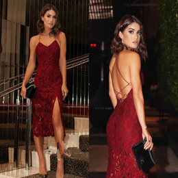 $enCountryForm.capitalKeyWord NZ - Sexy Sheath Burgundy Spaghetti Straps Cocktail Dresses Backless Side Split 2018 Short Sheer Lace Prom Dress Party Gowns Club Wear