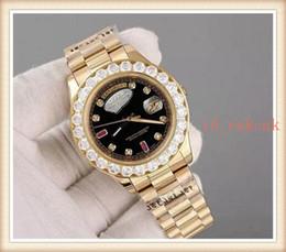 Orange Bezel Canada - 2018 Hot Sale Luxury Super Good President Day Date Watch Big Diamond Bezel Black Dial mens reloj Watches Mens Reloj WristWatches Watche