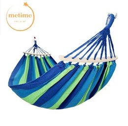 swing beds UK - METIME Hammock with stick Double 200x150cm High Quality Garden swing Sleeping bed Portable Outdoor Camping Garden hanging chair