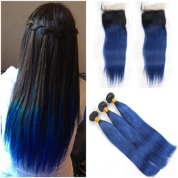 Discount dark blue human hair weave - Straight #1B Blue Ombre Brazilian Human Hair 3 Bundles Deals with 4x4 Lace Closure Dark Rooted Ombre Blue Human Hair Wea