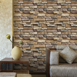 Wholesale 2018 Fashion Home Garden D Wall Paper Brick Stone Rustic Effect Self adhesive Wall Sticker Home Decor
