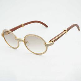 Discount stones sunglasses - Luxury Diamond Sunglasses Wooden Eyeglasses Retro Shades Men Stone Sun Glasses Round Metal Rhinestone Glasses Frame Gafa