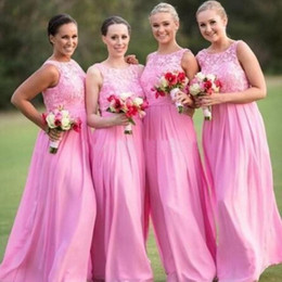 dresses made usa Australia - Hot Sale Applique Lace Pink Bridesmaid Dresses Long Evening Gowns Chiffon Wedding Guest Dresses Custom Made Maid of Honor Gown USA UK 2020
