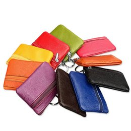 Storage Key Organizer Canada - Genuine Cow Leather Short Wallet Coin Purse Travel Organizer 11 Candy Colors Storage Bag Key Holders Zipper Day Clutch