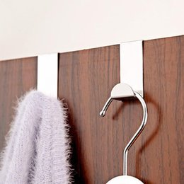 2PCS Home Kitchen Door Stainless Steel Self Holder Hanger Hanging Coat  Hooks Drawer Cabinet Towel Clothes Pothook