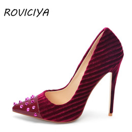 e8f678270c 12 cm Stiletto Women Pumps Velvet Sexy High Heel Pointed Toe with Rivet  Shallow Party Shoes Women plus size WJ162 ROVICIYA
