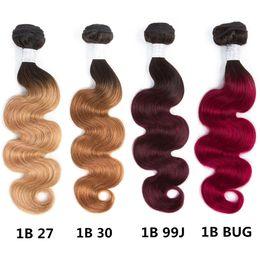 Discount bleach hair dye - 2 Tone Ombre Brazilian Human Hair 4 Bundles Body Wave Weave Human Hair Extensions 10-26inches T1B 27 T1B 30 100% Human H