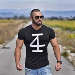 574acd8c Brand Men 'S T -Shirt Fitness And Bodybuilding Short Sleeve T Shirts Fashion  Leisure Muscle Men Slim Fit Personality Tees Tops