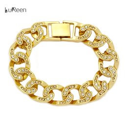 Womens gold link bracelets online shopping - LuReen Mens Womens Chain Hip  Hop Iced Out Curb a08cbfaef9